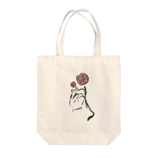手とバラ Tote bags