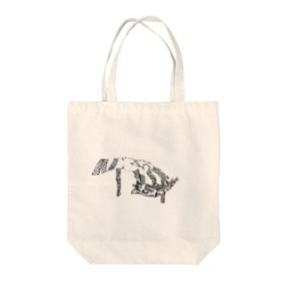 狼の下顎の骨と手 Tote bags