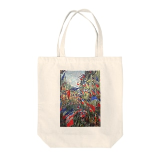 クロード・モネ / The Rue Montargueil with Flags Tote bags