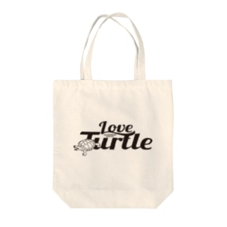 Love Turtel TypeA ブラックロゴ Tote bags