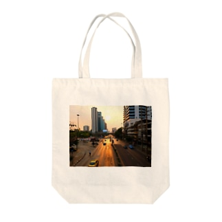 Street of  the Red Halo Tote bags