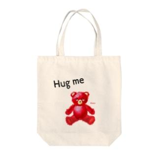 【Hug me】(赤くま) Tote bags