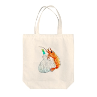 茹でたバナメイエビとニンニク Tote bags