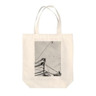 中継地点(点と線) Tote bags