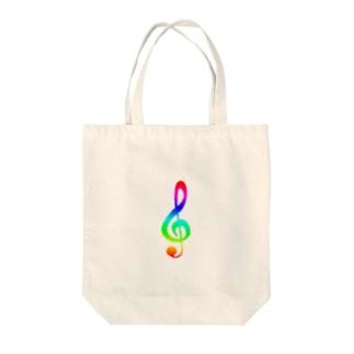 ト音記号 カラフル Tote bags