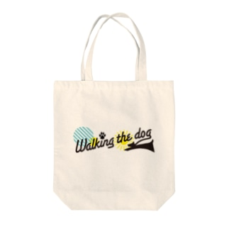 Walking the dog Tote bags