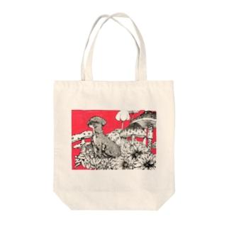 きのこと犬 Tote bags