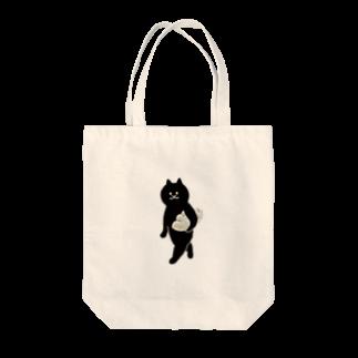 SUIMINグッズのお店の餃子をMacBookのように持ち運ぶ猫 Tote bags