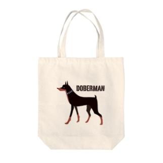 ドーベルマン ブラック Tote bags