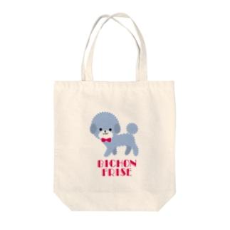 tomokomiyagamiのビションフリーゼ ブルー Tote bags