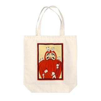 パンダとダルマ。 Tote bags