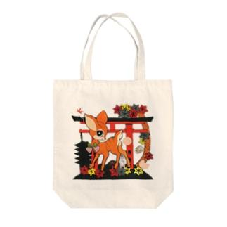 鹿神様 Tote bags