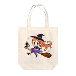 黒猫と魔女っぽい娘 Tote bags