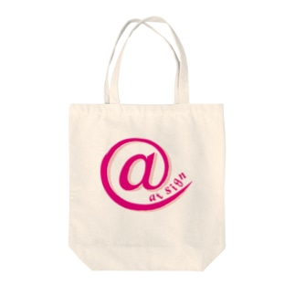 at sign pink Tote bags