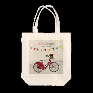 フラット(公式アカウント)のbicycle festival Tote bags