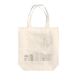 ダイコン 正方形 Tote bags