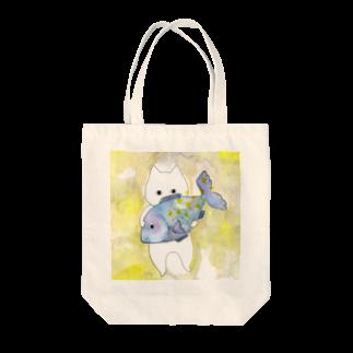フクモトエミのうお座のネコ Tote bags