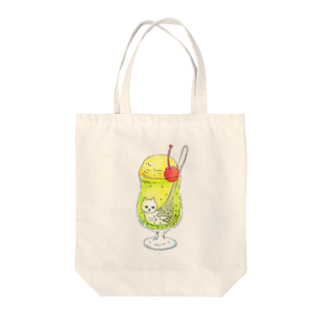 フクモトエミのクリームソーダにたゆたうネコ Tote bags