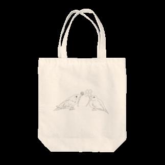 Lily bird(о´∀`о)のセキセイインコと文鳥とクローバー モノクロ① Tote bags