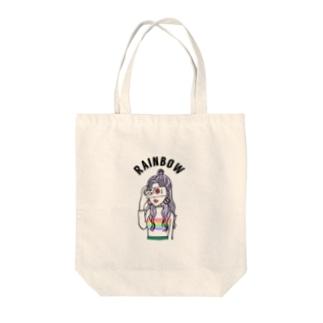 Rainbowニットちゃん Tote bags