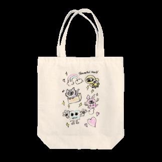 邂【サイマラショップ】逅 SUZURI店のサイマラ サクリファイスくんと仲間たち ピースフルワールド Tote bags