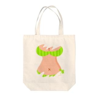 おっぱいTシャツ(YELLOW GREEN) Tote bags