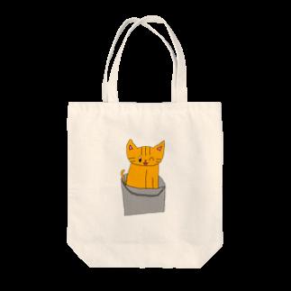ねこまちランドのバケツねこ Tote bags