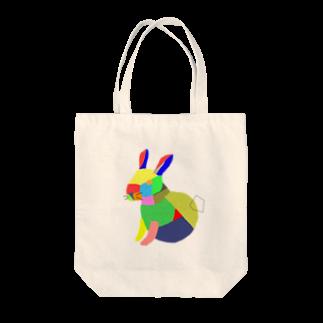 Kuzira/whaleのアートうさぎ Tote bags