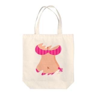おっぱいTシャツ(PINK) Tote bags