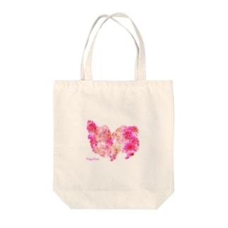 花柄パピヨン Tote bags