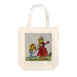 鏡の国のアリスパグ(赤の女王とアリス) Tote bags
