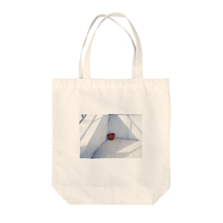 Red bucket Tote bags