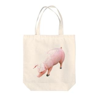 豚 Tote bags