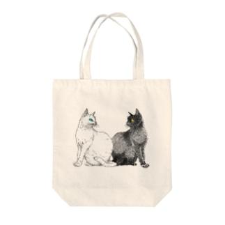 白猫と黒猫 Tote bags
