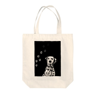 BLACK & WHITE DOG Tote bags