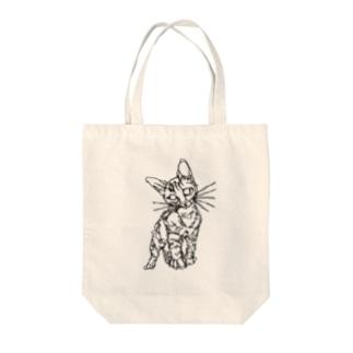 左手で描いたネコ Tote bags