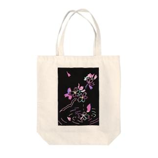桜×スクラッチアート風 Tote bags