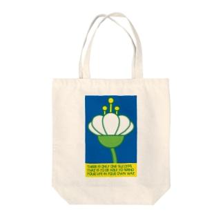 occasiの花の横顔 ブルー Tote bags