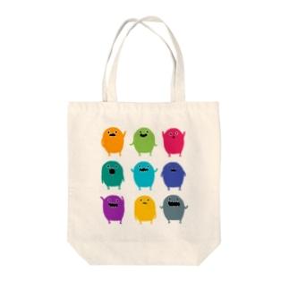 カラフルモンスター Tote bags