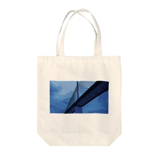 Bridge blue Tote bags