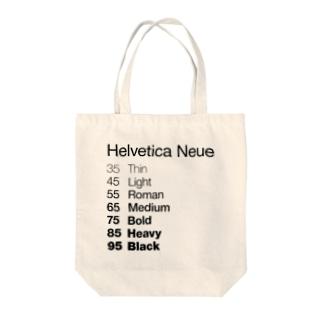 Helvetica Neue Tote bags
