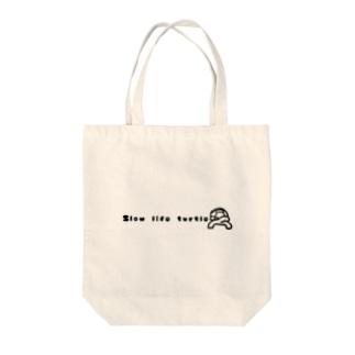 Slow life turtles Tote bags