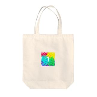 虹色とワン Tote bags