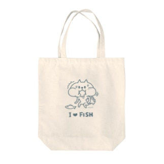 I Love Fish(blue) Tote bags