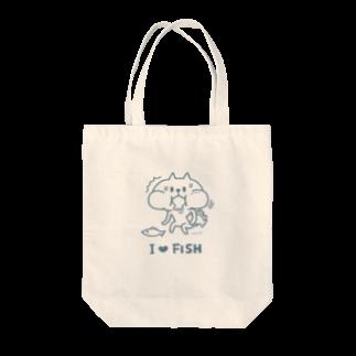 まつこのI Love Fish(blue) Tote bags