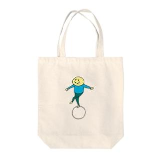 まるに乗る(ブルー) Tote bags