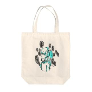 ヘッドホン少女 Tote bags