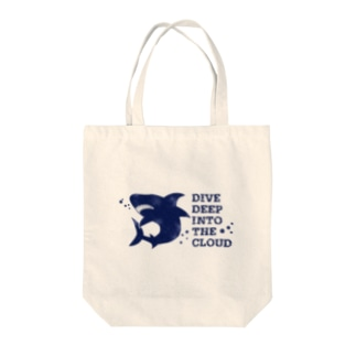 DIVE DEEP blue Tote bags