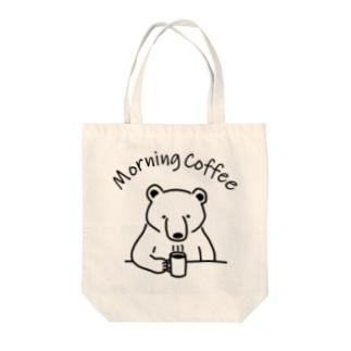 モーニングコーヒー クマ 熊 動物イラストアーチロゴ Tote bags