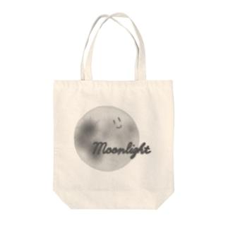 顔つき月【モノクロ】 Tote bags